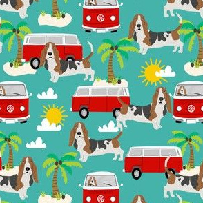 basset hound dog fabric summer  palm trees - turquoise