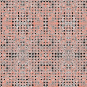 Dancing Dots and Spots of Grey on Shrimp Pink - Medium Scale