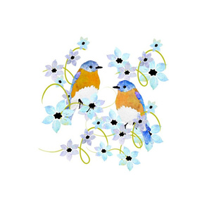Bluebirds and flowers Panel
