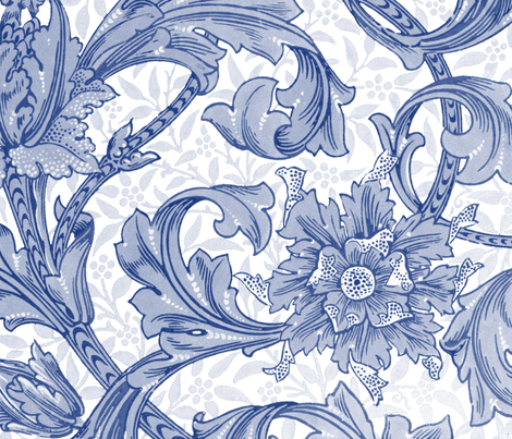 William Morris ~ Single Stem  ~ Willow Ware Blue and White  fabric by peacoquettedesigns on Spoonflower - custom fabric