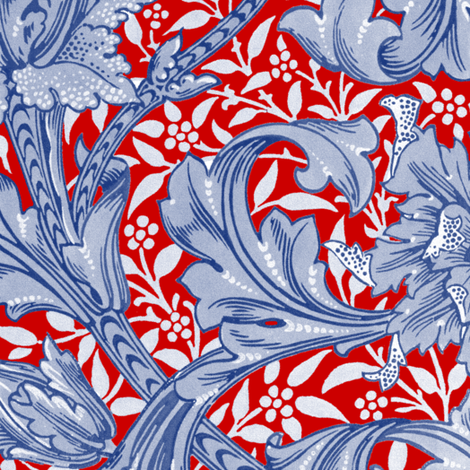 William Morris ~ Single Stem  ~ Willow Ware Blue and White on Richelieu   fabric by peacoquettedesigns on Spoonflower - custom fabric