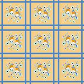 Bluebirds, flowers in latticework blocks