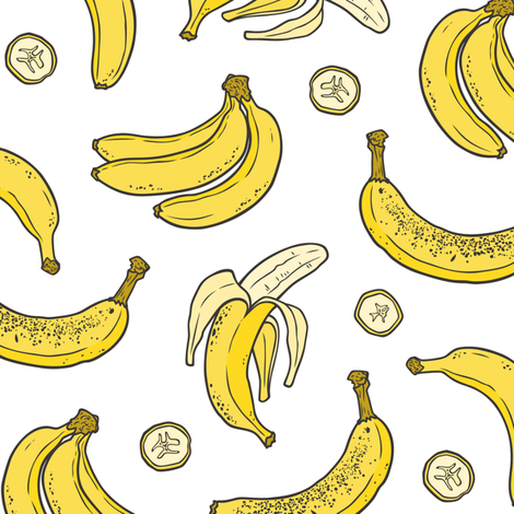 Bananas Summer Fruits on White fabric by caja_design on Spoonflower - custom fabric