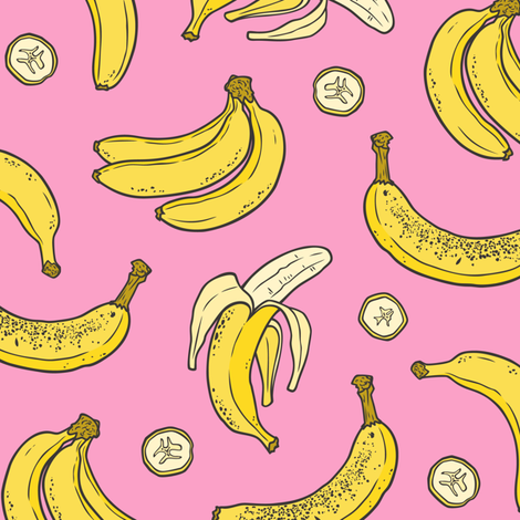 Bananas Summer Fruits on Pink fabric by caja_design on Spoonflower - custom fabric