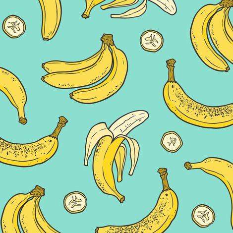 Bananas Summer Fruits on Mint Green fabric by caja_design on Spoonflower - custom fabric
