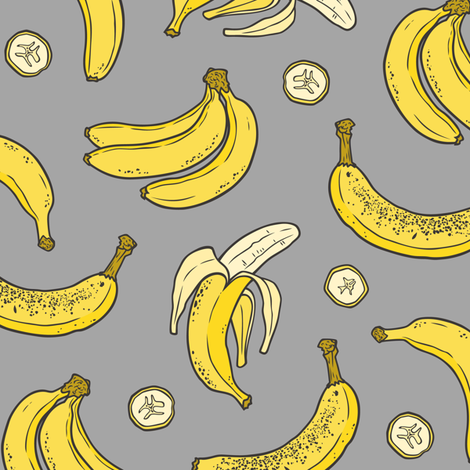 Bananas Summer Fruits on Dark Grey fabric by caja_design on Spoonflower - custom fabric