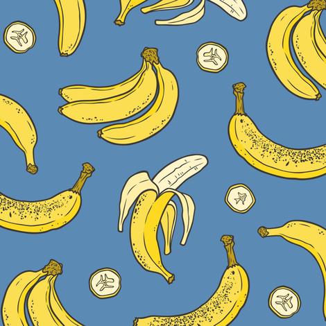 Bananas Summer Fruits on Blue fabric by caja_design on Spoonflower - custom fabric