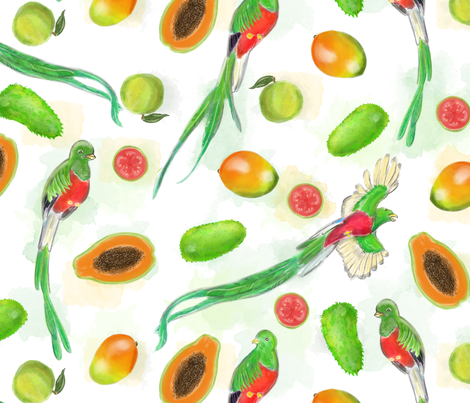 Fruits of Mexico with Quetzals fabric by landpenguin on Spoonflower - custom fabric