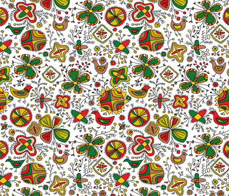 Archaic Blooms and Birds fabric by palusalu on Spoonflower - custom fabric