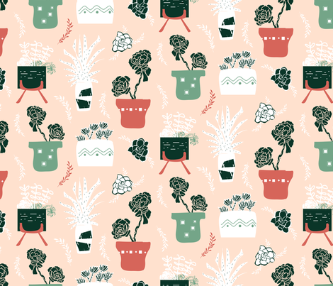 Succulent Fun alternate fabric by pixabo on Spoonflower - custom fabric
