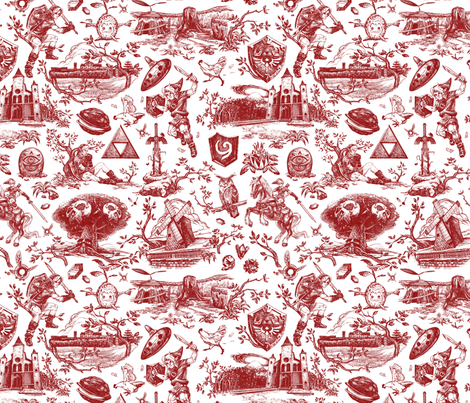 Hero of Time toile - Goron's Ruby fabric by nicksullivan on Spoonflower - custom fabric