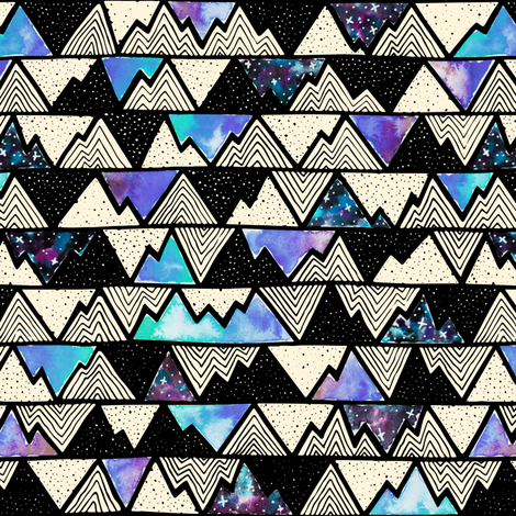 Cosmos – Mountains Blue fabric by bexdsgn on Spoonflower - custom fabric