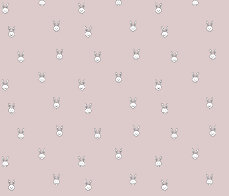 Pink Bunny Faces fabric by ericarileyart on Spoonflower - custom fabric