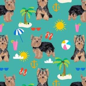 yorkie fabric yorkshire terrier summer beach design cute dog fabric - turquoise