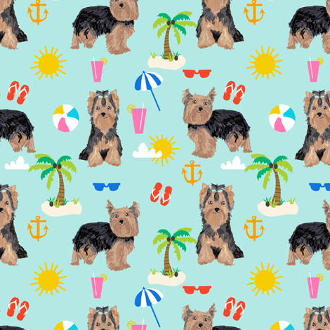 yorkie fabric yorkshire terrier summer beach design cute dog fabric - light blue fabric by petfriendly on Spoonflower - custom fabric