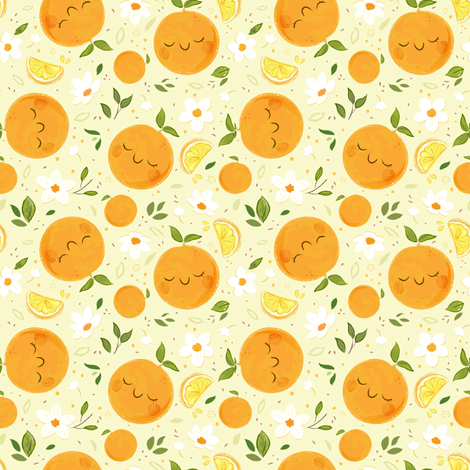 Orange Citrus Pattern fabric by sweetsurprises on Spoonflower - custom fabric