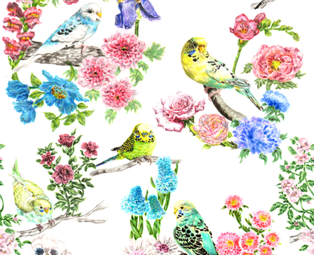 Watercolour Budgies and Blooms fabric by teja_jamilla on Spoonflower - custom fabric