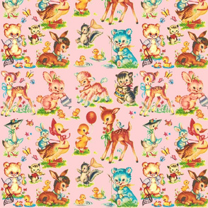 LARGE scale Wallpaper -- Favorite PINK vintage Baby Animals Paris Bebe