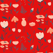 Red_with_pink_flowers_pattern
