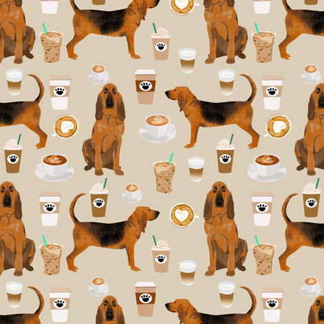 bloodhound fabric dogs and coffees design - sand fabric by petfriendly on Spoonflower - custom fabric