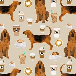 bloodhound fabric dogs and coffees design - sand