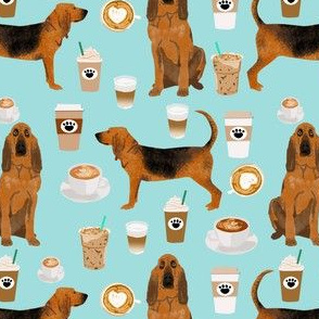 bloodhound fabric dogs and coffees design - blue tint