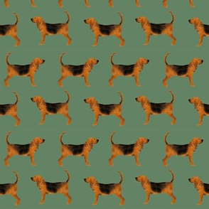 bloodhound fabric simple dog design - med green