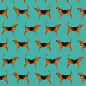 bloodhound fabric simple dog design - turquoise