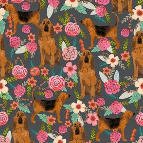 bloodhound dog fabric dogs and florals - charcoal