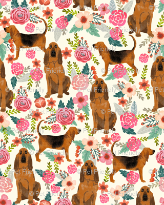 bloodhound dog fabric dogs and florals - cream