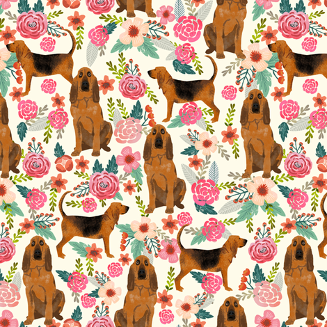 bloodhound dog fabric dogs and florals - cream fabric by petfriendly on Spoonflower - custom fabric