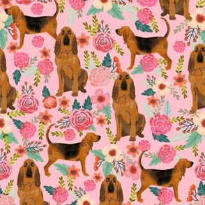 bloodhound dog fabric dogs and florals - pink