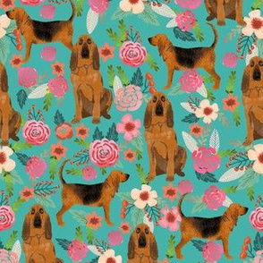 bloodhound dog fabric dogs and florals -turquoise