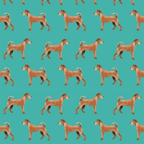 irish terrier fabric dog fabric - turquoise