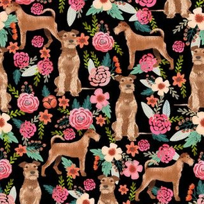 irish terrier floral fabric dog fabric - black