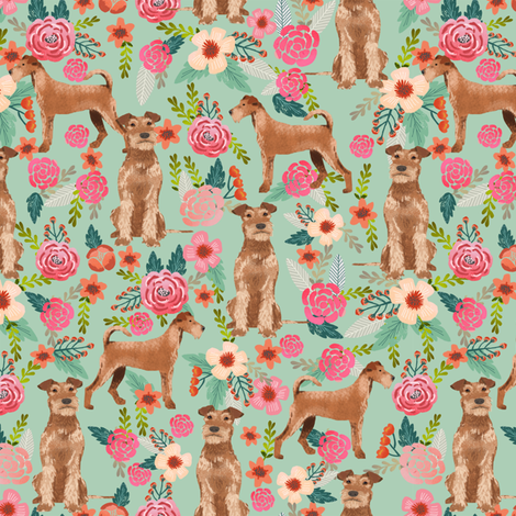 irish terrier floral fabric dog fabric - mint fabric by petfriendly on Spoonflower - custom fabric