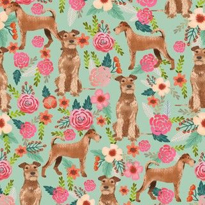 irish terrier floral fabric dog fabric - mint
