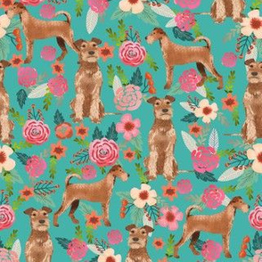 irish terrier floral fabric dog fabric - turquoise