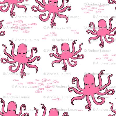 octopus fabric // pink octopus design andrea lauren design
