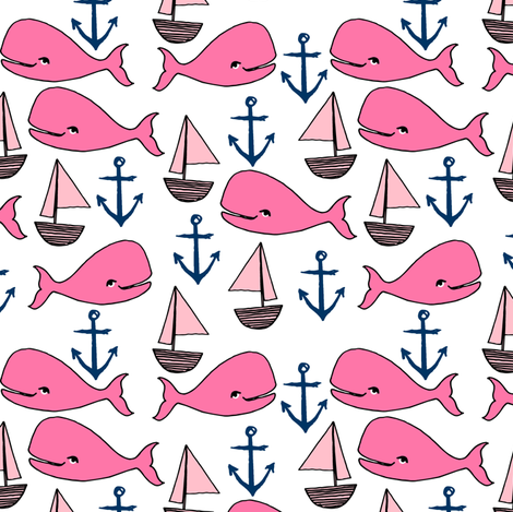 Nautical whale fabric pink fabric nursery baby design for Nautical nursery fabric