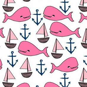 nautical whale fabric // pink fabric nursery baby design anchors nautical