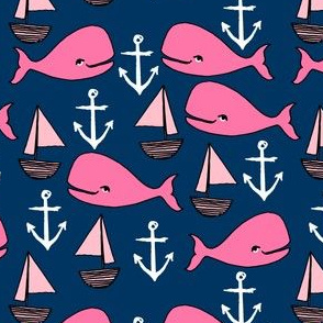 nautical whale fabric // navy and pink fabric nursery baby design anchors nautical