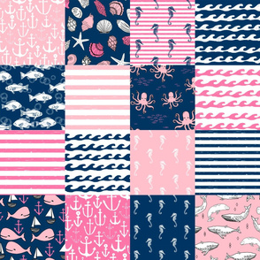 nautical wholecloth cheater quilt fabric navy and pink fabric