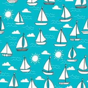 sailboats fabric // sailing nautical boat fabric nursery baby turquoise