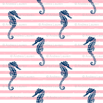 seahorse fabric // seahorse nautical summer ocean fabric nursery baby pink and navy fabric