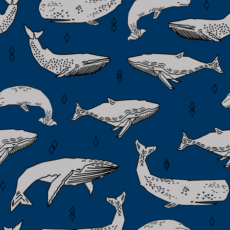 Whales fabric whale ocean animals fabric nursery baby for Whale fabric