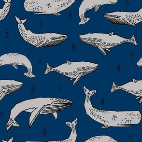 whales fabric // whale ocean animals fabric nursery baby fabric - navy