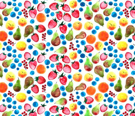 Watercolor Fruits fabric by jadegordon on Spoonflower - custom fabric
