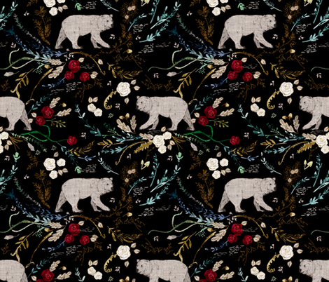 Snow white & rose red (black) fabric by nouveau_bohemian on Spoonflower - custom fabric