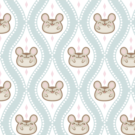 Diamond_mice_grey/blue fabric by woodmouse&bobbit on Spoonflower - custom fabric